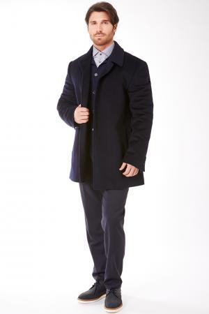 Короткое мужское пальто с супатной застежкой и глухим воротником Heresis. Цвет: темно-синий