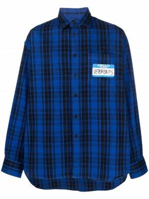 Клетчатая рубашка с нашивкой-логотипом VETEMENTS. Цвет: синий