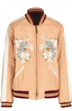 Куртка-бомбер на молнии с вышивкой Chloé. Цвет: розовый