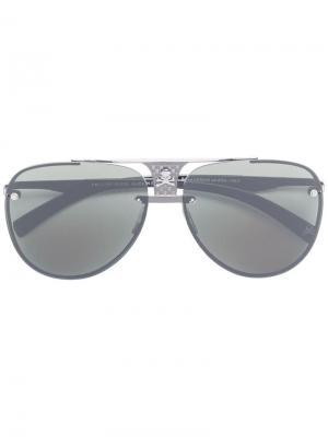 Солнцезащитные очки-авиаторы с бляшкой черепом Philipp Plein. Цвет: черный