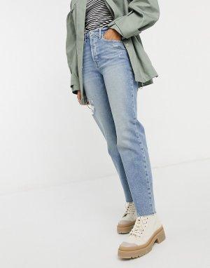Синие выбеленные джинсы с прямыми штанинами, необработанным краем и рваной отделкой -Голубой Hollister