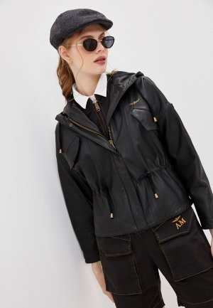 Куртка кожаная Aeronautica Militare. Цвет: черный