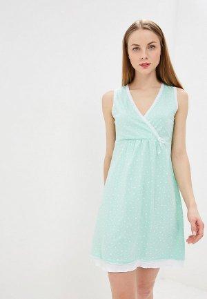 Сорочка ночная Hunny mammy. Цвет: бирюзовый
