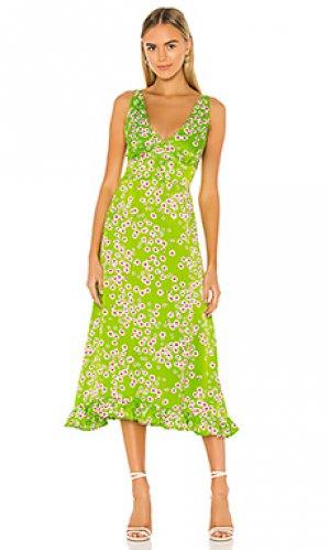 Платье миди emili FAITHFULL THE BRAND. Цвет: зеленый,розовый