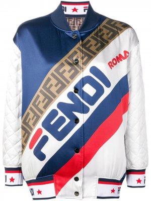 Двухсторонняя куртка-бомбер Fendi. Цвет: белый