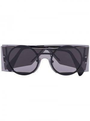 Солнцезащитные очки YY7020 в прямоугольной оправе Yohji Yamamoto. Цвет: черный