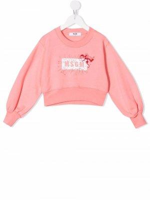 Cupid-motif logo sweatshirt MSGM Kids. Цвет: розовый