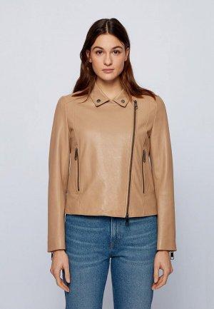 Куртка кожаная Boss C_Sajuana1. Цвет: бежевый