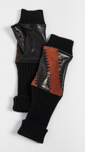 Leather Striped Fingerless Gloves Carolina Amato