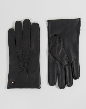 Базовые кожаные перчатки Tommy Hilfiger. Цвет: черный