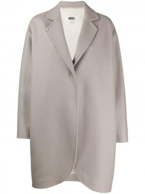 Пальто оверсайз с клапанами Mm6 Maison Margiela. Цвет: нейтральные цвета