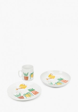 Сервиз столовый Сотвори Чудо кружка, тарелка, глубокая тарелка.. Цвет: белый