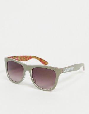 Серые классические солнцезащитные очки с разноцветной оправой -Серый Santa Cruz