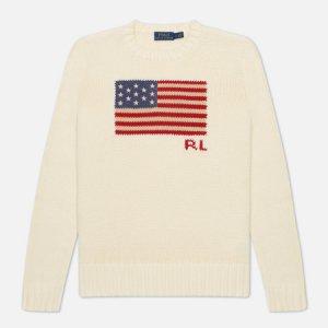 Женский свитер Cotton Flag Polo Ralph Lauren. Цвет: бежевый