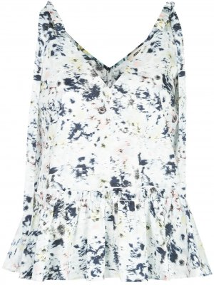 Блузка с принтом и завязками на плечах Jason Wu. Цвет: белый