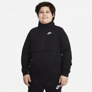 Толстовка с молнией на половину длины для мальчиков школьного возраста Sportswear Club (расширенный размерный ряд) - Черный Nike
