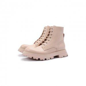 Кожаные ботинки Alexander McQueen. Цвет: розовый