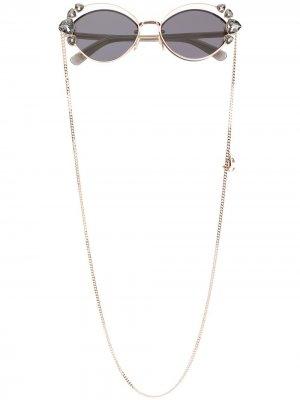 Декорированные солнцезащитные очки с двойной оправой Jimmy Choo Eyewear. Цвет: черный