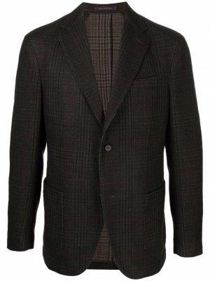 Однобортный пиджак в клетку The Gigi. Цвет: коричневый