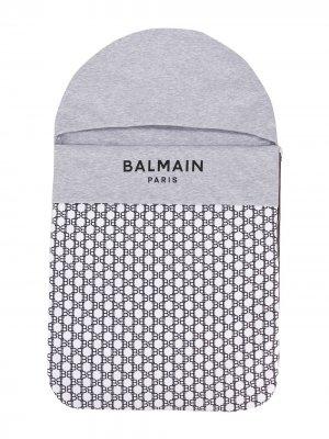 Спальный конверт с логотипом Balmain Kids. Цвет: серый