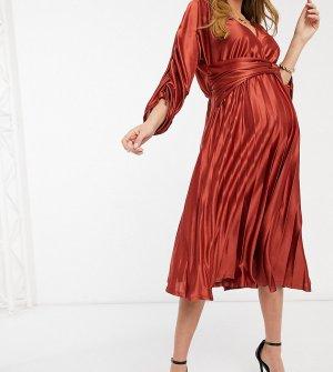 Атласное платье миди цвета мокко с присборенными рукавами и плиссированной юбкой Maternity-Многоцветный ASOS DESIGN