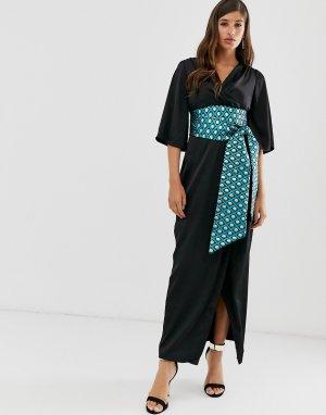 Платье макси с запахом Closet-Черный Closet London