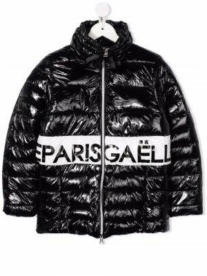 Пуховик с логотипом Gaelle Paris Kids. Цвет: черный