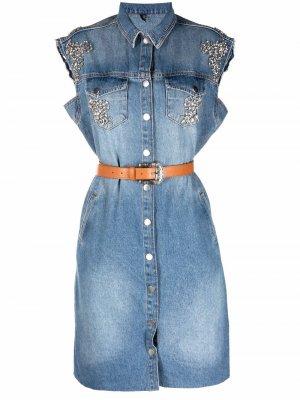 Джинсовое платье-рубашка с короткими рукавами LIU JO. Цвет: синий