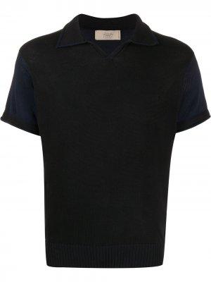 Рубашка-поло с контрастными рукавами Maison Flaneur. Цвет: черный