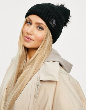 Winter Blur pom beanie in black-Черный цвет Columbia