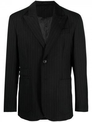 Полосатый костюм с однобортным пиджаком Trussardi. Цвет: черный