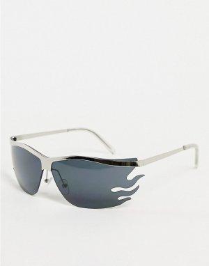 Квадратные узкие солнцезащитные очки в серебристой оправе стиле унисекс Flamin Farrah-Серебристый AJ Morgan