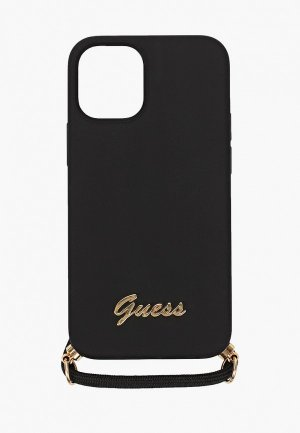 Чехол для iPhone Guess 12 mini (5.4), Liquid silicone Gold metal logo+Cord Black. Цвет: черный