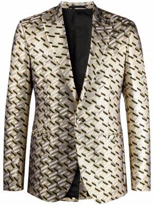 Однобортный пиджак с узором Greca Versace. Цвет: черный