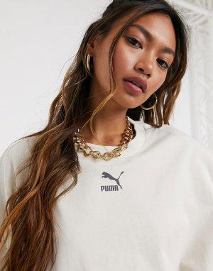 Бежевое платье-футболка PUMA-Коричневый Puma