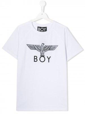 Футболка с логотипом Boy London Kids. Цвет: белый