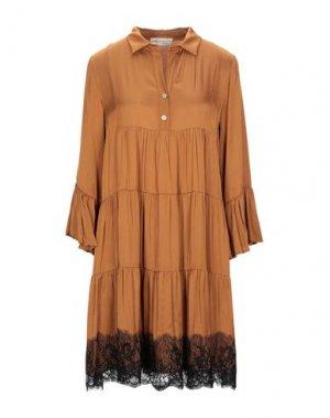 Короткое платье BSB. Цвет: ржаво-коричневый