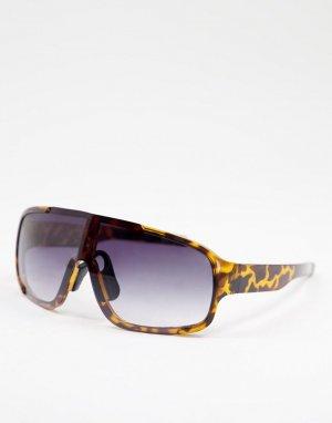Женские солнцезащитные очки черного цвета с козырьком и фиолетовыми стеклами -Коричневый цвет Jeepers Peepers
