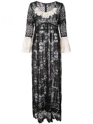 Ажурное платье Floral Diamond & Medallion Anna Sui. Цвет: черный
