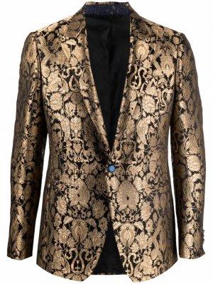 Жаккардовый пиджак строгого кроя ETRO. Цвет: золотистый