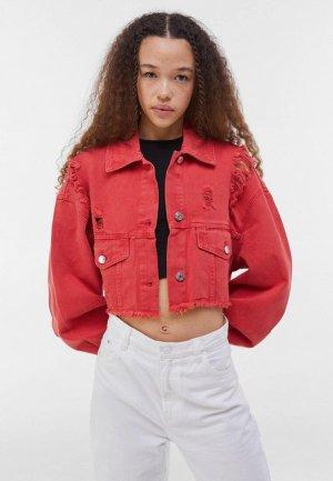 Куртка джинсовая Bershka. Цвет: красный