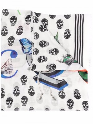 Skull-print logo scarf Alexander McQueen. Цвет: белый