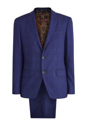 Костюм из шерстяной ткани с фактурным «мелованным» принтом ETRO. Цвет: синий