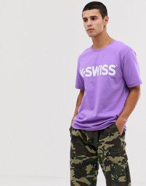 Классическая фиолетовая футболка с логотипом -Фиолетовый K-Swiss