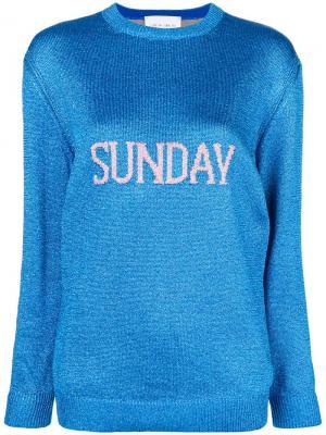 Свитер Sunday вязки интарсия Alberta Ferretti. Цвет: синий