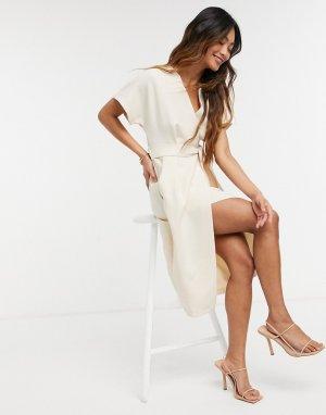 Светло-бежевое платье миди с рукавами-кимоно -Светло-бежевый Closet London