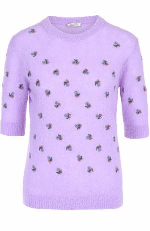 Вязаный пуловер прямого кроя с коротким рукавом Nina Ricci. Цвет: сиреневый