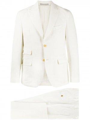 Строгий костюм-тройка Eleventy. Цвет: белый