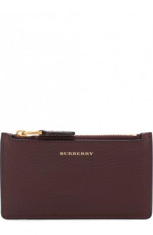 Кожаный футляр для кредитных карт с отделением на молнии Burberry. Цвет: бордовый