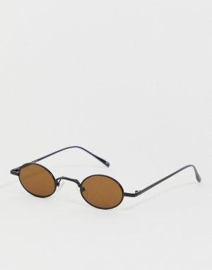 Овальные очки в стиле 90-х с коричневыми стеклами -Черный ASOS DESIGN